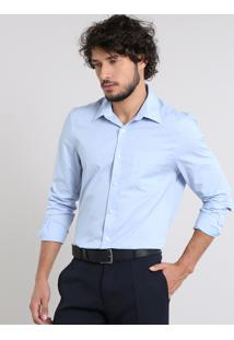 Camisa Masculina Comfort Com Bolso Manga Longa Azul Claro