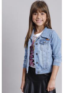 Jaqueta Jeans Infantil Estampada De Estrelas Azul Claro