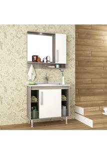 Gabinete Para Banheiro Tampo Em Mármore E Armário Com Espelho 80Cm Brisa Móveis Bosi Barrique/Branco