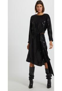 Vestido De Malha Paetê Curto Manga Longa Com Decote Na Cintura E Faixa Para Amarração Preto/Prata