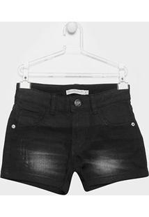 Short Jeans Infantil Lilica Ripilica Estonada Feminina - Feminino-Preto