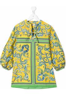 Philosophy Di Lorenzo Serafini Kids Vestido Com Estampa Paisley - Amarelo