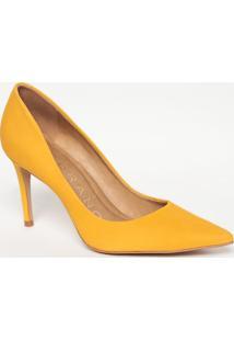Scarpin Em Couro Acamurçado- Amarelo- Salto: 8,5Cmcarrano