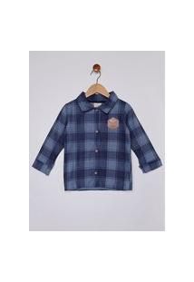 Camisa Flanela Xadrez Infantil Para Menino - Azul