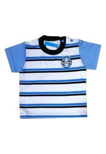 Camisa Bebê Listras Grêmio Oficial Azul