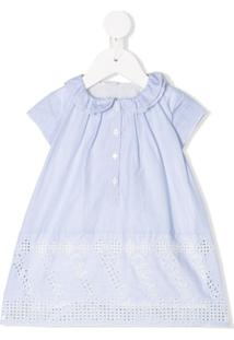 Chloé Kids Vestido De Algodão Risca De Giz Com Bordado Inglês - Azul