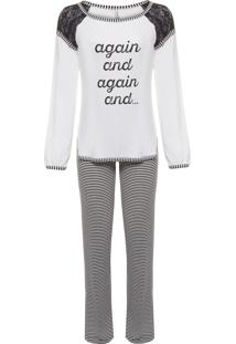 Pijama Feminino Longo Malha Luna - Branco E Cinza