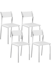 Cadeira 1709 Cromada 04 Unidades Branca Carraro