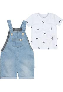Conjunto Jardineira E Camiseta Bebê Menino Hering Kids