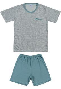 Pijama Curto Juvenil Para Menino - Verde