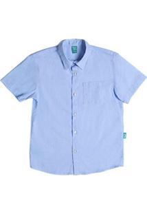 Camisa Infantil Jokenpô Cambraia Masculina - Masculino-Azul Claro