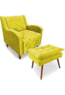 Conjunto Poltrona Decorativa Emilly Com Puff Suede Amarelo - Unico - Dafiti