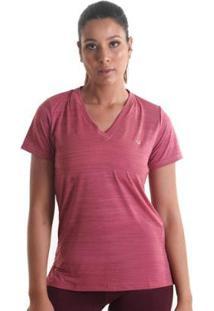 Camiseta Líquido Gola V Mescla Feminina - Feminino-Rosa Claro