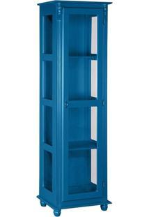 Cristaleira Com Porta E Lateral De Vidro Azul Bic