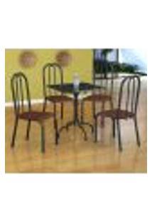 Conjunto De Mesa Malaga Com 4 Cadeiras Madri Preto Prata E Amadeirado