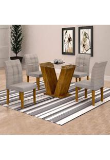 Conjunto De Mesa De Jantar Classic Com 4 Cadeiras Vitória Suede Ypê E Cinza