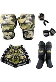 Kit Muay Thai Top Luva Bandagem Bucal Shorts Caneleira 08 Oz Camuflado - Masculino