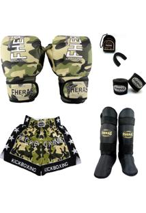 Kit Muay Thai Top Luva Bandagem Bucal Shorts Caneleira 08 Oz Camuflado - Masculino