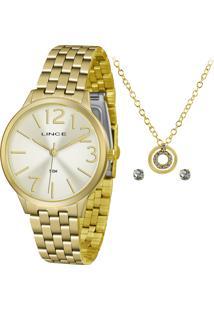 Kit De Relógio Analógico Lince Feminino + Brinco + Colar - Lrgh076L Kv38C2Kx Dourado