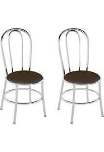 Conjunto Com 2 Cadeiras Vinil Cacau E Cromado