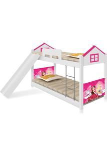 Beliche Baixa Casa Princesa Com Escorregador Casah - Branco/Rosa - Menina - Dafiti