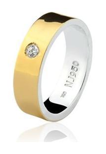 Aliança Mista Ouro 18K E Prata 925 Elegance Natalia Joias Alm-150 - Feminino-Ouro
