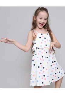 Vestido Infantil Estampado De Poá Off White