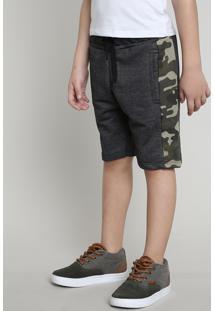 Bermuda Infantil Em Moletom Com Faixa Lateral Estampada Camuflada Cinza Mescla Escuro 1