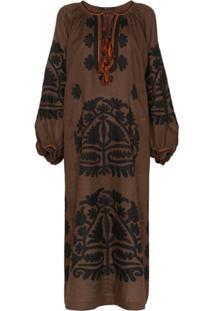 Vita Kin Vestido Bordado Shalimar - Marrom