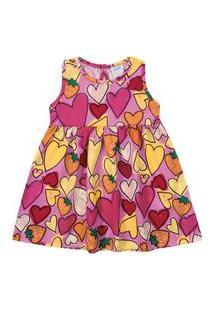 Vestido De Bebê Corações Rosa