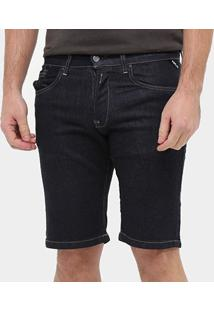 Bermuda Jeans Replay Básica Masculina - Masculino-Azul Escuro