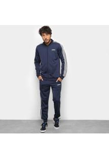 Conjunto Agasalho Adidas Detalhe Bordado Masculino - Masculino-Marinho