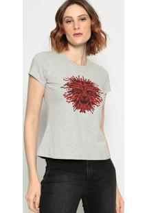 Camiseta Leã£O- Cinza & Vermelha - ÊNfaseãŠNfase