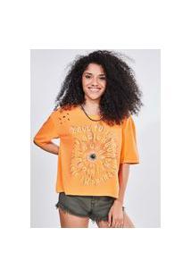Camiseta Estampada Oversized Furadinha