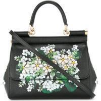85b51f063 Dolce & Gabbana Bolsa Tote 'Sicily' Floral De Couro - Preto
