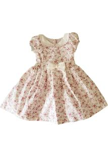 Vestido Festa Infantil Em Tricoline Póssum Floral Miudo Off White Rosa