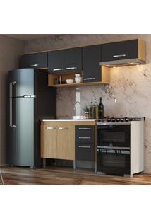 Cozinha Compacta Completa 4 Peã§As Mel E Grafite Lilies - Grafite/Marrom - Dafiti