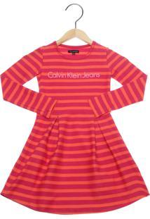 e98232020943f Vestido Calvin Klein Kids Listras Infantil Vermelho