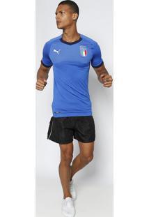Camiseta Puma® Itália Dry Cell®- Azul   Pretapuma c43d3cf44af89