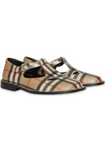 Burberry Kids Vintage Check Leather Mary Jane Shoes - Neutro