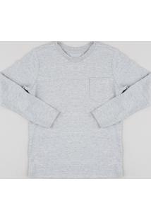 Camiseta Infantil Básica Com Bolso Manga Longa Cinza Mescla
