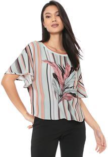 Camiseta Forum Estampada Verde/Rosa