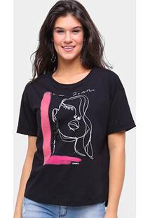 Camiseta Sommer Básica La Femme Feminina - Feminino-Preto