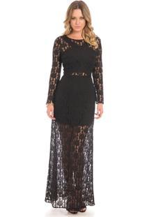 Vestido Longo Rendado Floriá - Feminino