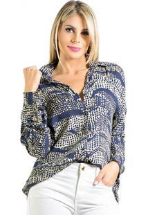 Camisa Viscose Estampada Azul Lucidez - Camisa Lucidez Viscose Estampada Azul