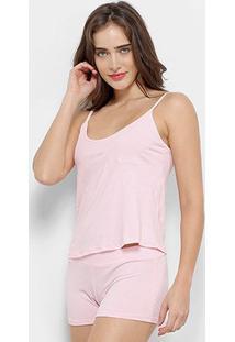 Conjunto Pijama Flora Zuu Básico 3 Peças Feminino - Feminino-Rosa