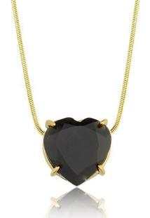 Colar Toque De Joia Coração Pedra Natural Quartzo Negro - Feminino-Dourado