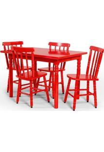 Conjunto De Mesa 110X80 Mônaco Com 4 Cadeiras Assento Pequeno - Vermelho - Btb Móveis