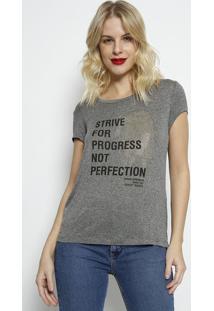 Camiseta Com Recortes Texturizados- Cinza & Preta- Fforum
