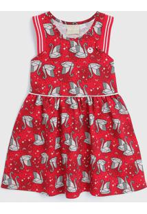 Vestido Milon Infantil Origami Vermelho/Cinza